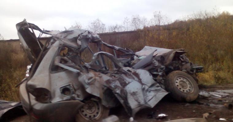 Неопытный шофёр столкнулся сКамАЗом натрассе вУдмуртии ВИДЕО