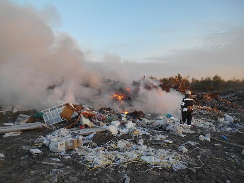 Около аэропорта «Борисполь» девять часов тушили пожар насвалке