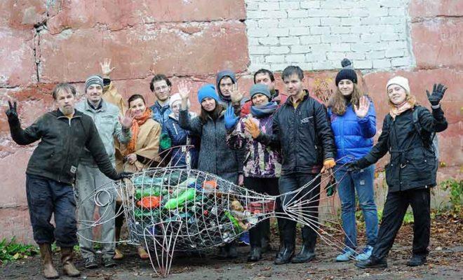 «Рыба-Терепец» из мусора «пришвартовалась» возле ИКЦ