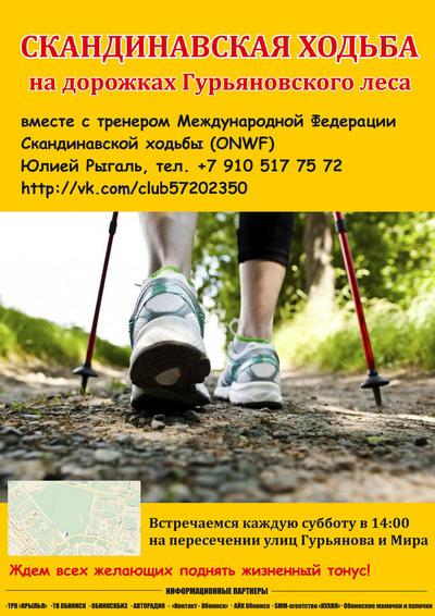 В Гурьяновском лесу Обнинска пройдут занятия по скандинавской ходьбе