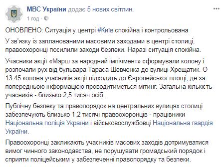Намитинге вцентре украинской столицы собралось около 2,5 тыс. человек,— МВД