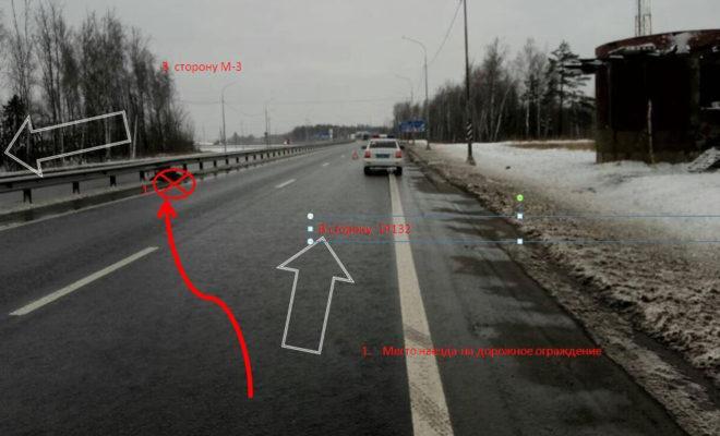 На окружной дороге автоледи врезалась в ограждение